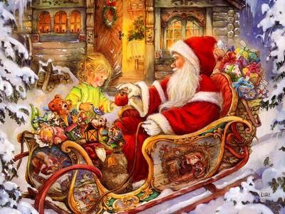 Nice christmas wallpaper santa claus joli fond d ecran de noel pere noel avec son traineau